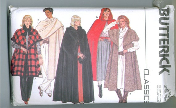 Vintage 1986 Hooded Cape 4 Lengths Sewing Pattern Sizes Small Medium Large b6796