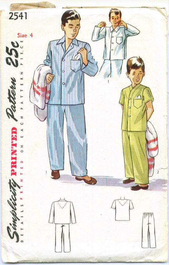 Simplicity 2541 Vintage 40s Boys Pajamas Sewing Pattern Size 4