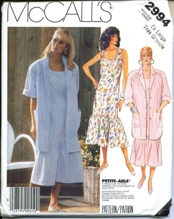 McCall's 2994 UNCUT Vintage 80s Shirt & Dress Sewing Pattern Sizes 22 24 XL