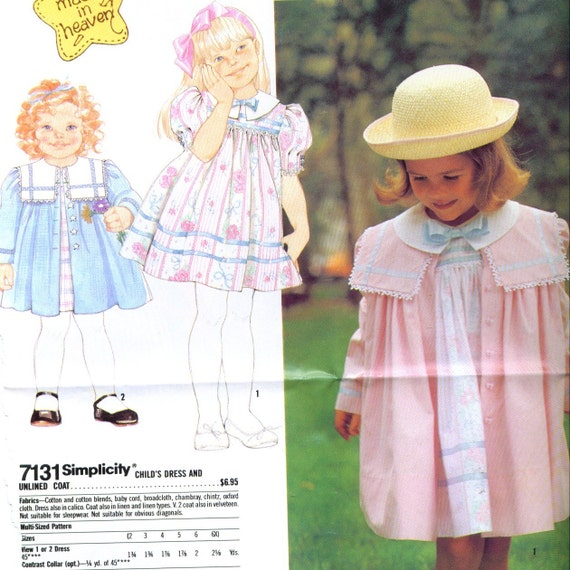 Toddler\/Childs Dress and Coat Sewing Pattern Sizes 2 to 6X