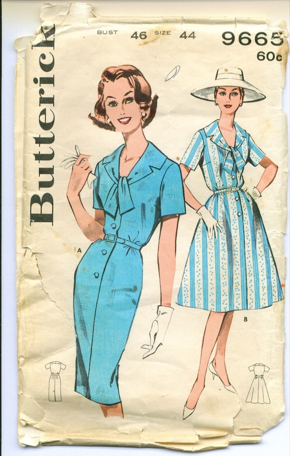 Vintage 1960 Scarf Collar Step In Dress Sewing Pattern Size 44 Bust 46 Waist 38 1\/2 b9665