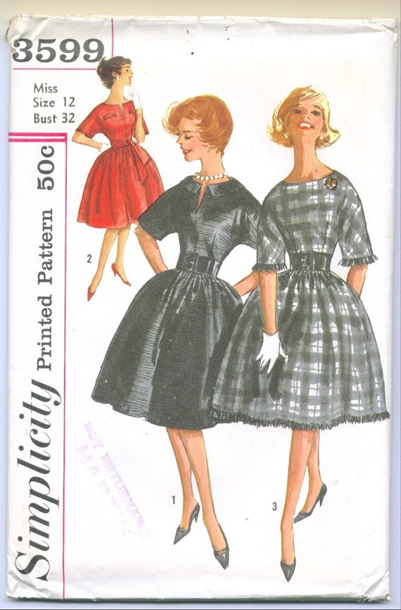Vintage 1960 Cocktail Dress Sewing Pattern Size 12 s3599