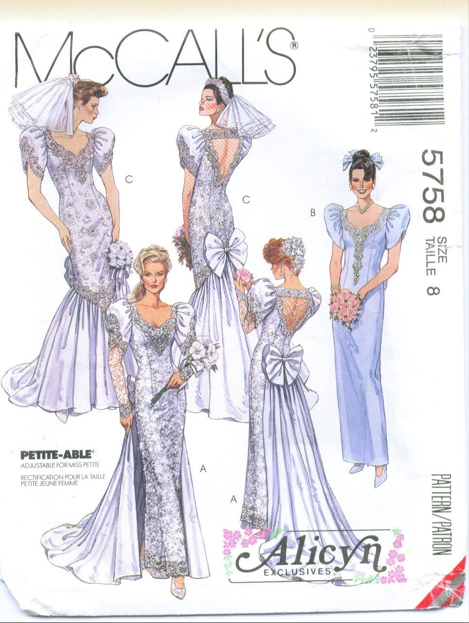 Mccall 39 s 5758 alicyn wedding dress sewing pattern size 8 for Wedding dress patterns mccalls