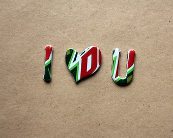 Mountain Dew Recycled  Magnetic  Letters - I Heart You Recycled Can