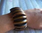 Natural Elastic Carved Wood Bracelet