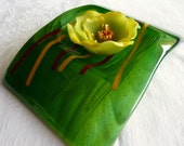 Fused Glass Candle Bridge in Green