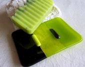 Reserved for S - Glass Soap Dish in Spring Green and Black
