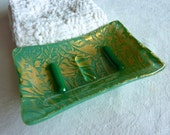 Soap Dish in Mineral Green and Gold Glass