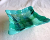 Fused Glass Dish in Woven Strips of Turquoise and Aqua