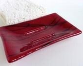 Glass Soap Dish in Dark Red