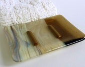 Contemporary Glass Soap Dish in French Vanilla and Bronze