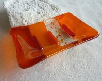 Fused Glass Soap Dish in Orange