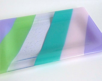 Fused Glass Platter or Plate in Pastel Stripes by BPRDesigns