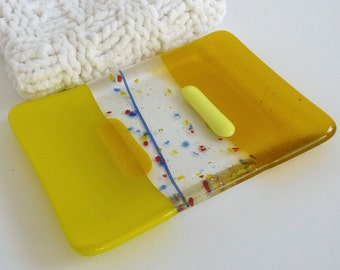 Soap Dish in Yellow Fused Glass