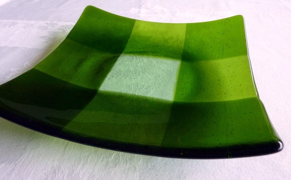 Large Glass Plate in Green Plaid Pattern