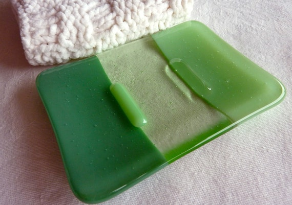 Fused Glass Soap Dish in Mineral and Mint Green