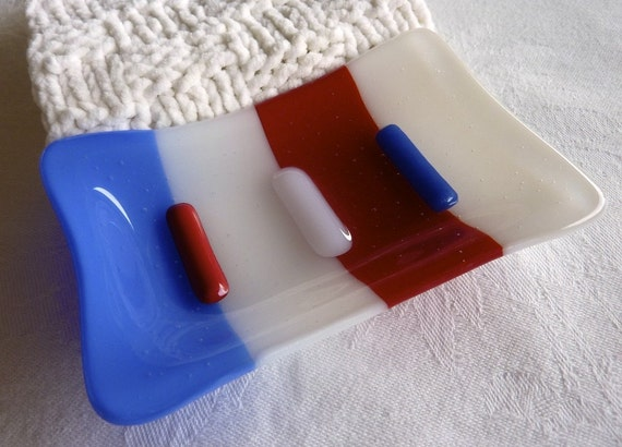 Fused Glass Soap Dish in Red, White and Blue