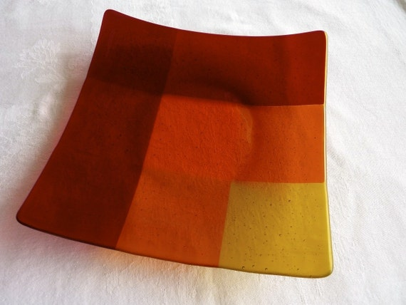 Large Glass Plate in  Red, Orange and Yellow Plaid