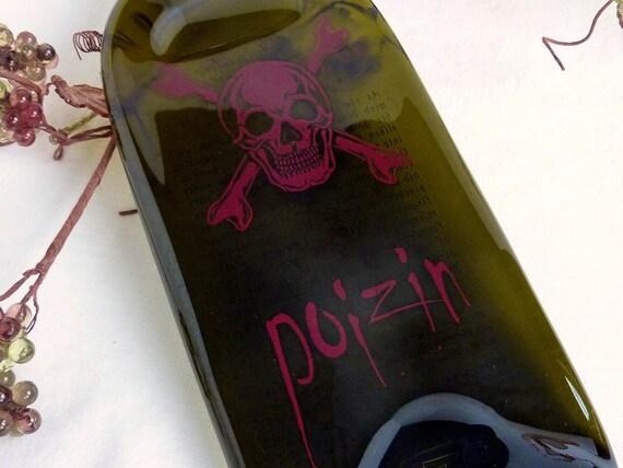 Slumped Poizin Wine Bottle Spoonrest or Candle Plate