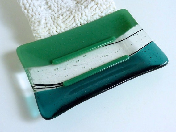 Large Glass Soap Dish in Mineral Green and Sea Blue