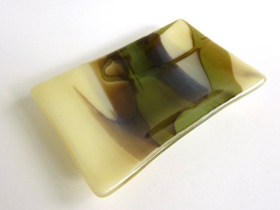 Rectangular Fused Glass Dish in French Vanilla, Brown and Aqua