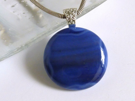 Streaky Dark Blue Glass Pendant