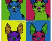 Andy Warhol style Boston Terrier dog 8x10 print