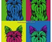 Andy Warhol style Yorkie dog 8x10 print