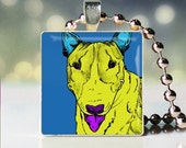 Scrabble tile pendant charm of Andy Warhol style Bull Terrier dogicature