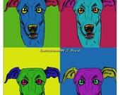 Andy Warhol style Greyhound dog 8x10 print
