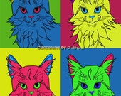 Andy Warhol style Maine Coon 8x10 print
