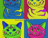 Andy Warhol style Silver Patched Tabby 8x10 print