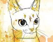 Painted Cats Series digital watercolor The Yellow One 8x10 print