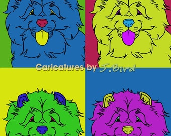 Andy Warhol style Chow Chow dogicature 8x10 print