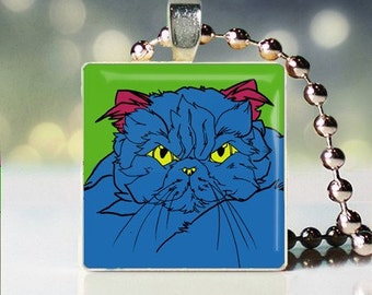Scrabble tile pendant of Andy Warhol style Persian