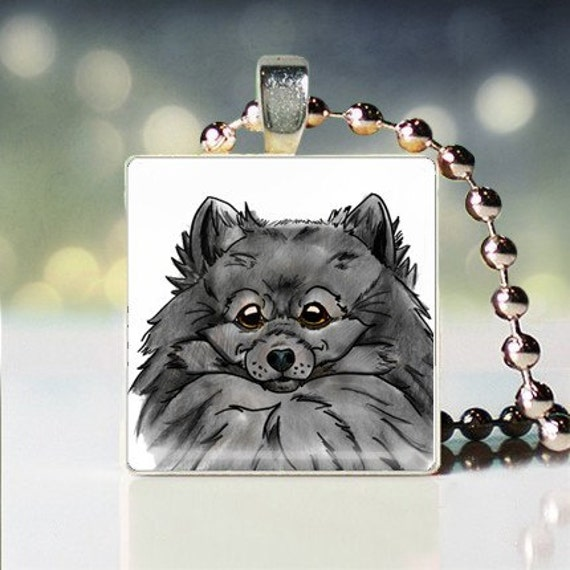 Scrabble tile pendant charm of Black Pomeranian Dogicature