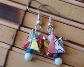Mod Floral Origami Bird Earrings