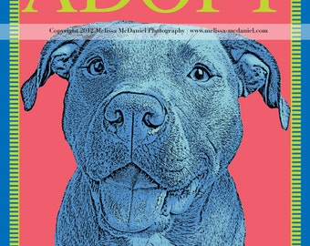 "ADOPT, Rescue (Pit Bull) Adoption, Metallic Print (8""x10"")"