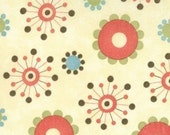 SALE - FROLIC  - Cosmic Flowers in Cream - 1 yard