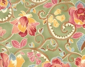 SALE - Floral fabric in Grass BOUTIQUE by Chez Moi for Moda - 1 yard