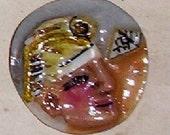 button hand sculpted Egyptian  man