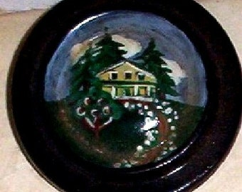Artists Hand painted button  Country home
