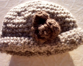 Crocheted baby's hat 100 percent virgin wool neutral cloche for newborn baby flower on the side