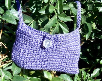 Crocheted purse Soft Fiber alternative to leather an over the shoulder lavender blue made in USA