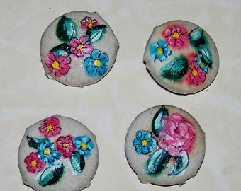 4 Handpainted cloth buttons  floral style