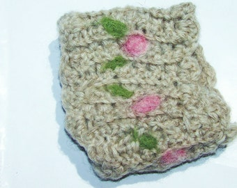 Crocheted Wool Wrist Cuff dry felted with Roses and green Leaves