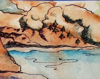 Seascape ACEO Print of a seascape watercolor and mixed media original by me
