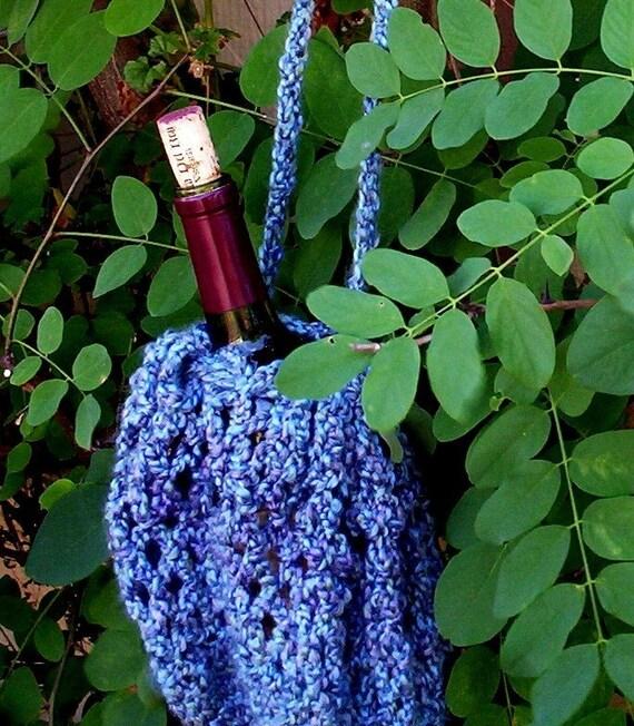 Crocheted purse or gift bag Acrylic blue yarn