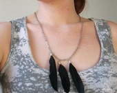 Black Feather Necklace NEVERMORE