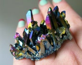 SALE Titanium Quartz Cluster Cocktail Ring VI
